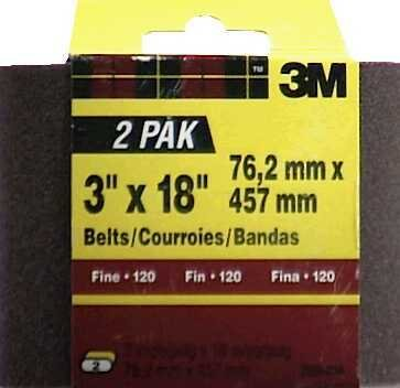 3M 9284NA-2 3'' X 18'' Extra Coarse Power Sanding Belts 2 Pack