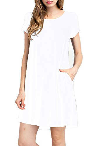TINYHI Women's Casual Plain Fit Flowy Simple Swing T-Shirt Loose Tunic Dress, S_white_pocket, Medium