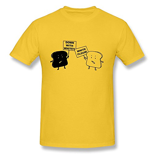Men's Funny Bread Protest Yellow Small O-neck Tee Shirt