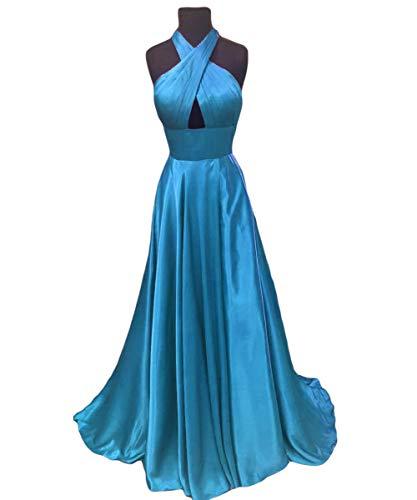 Halter Dreagel Neck Backless Cross Formal Gowns Evening Blue Sexy Women Dress s Prom qU4UrHxtw