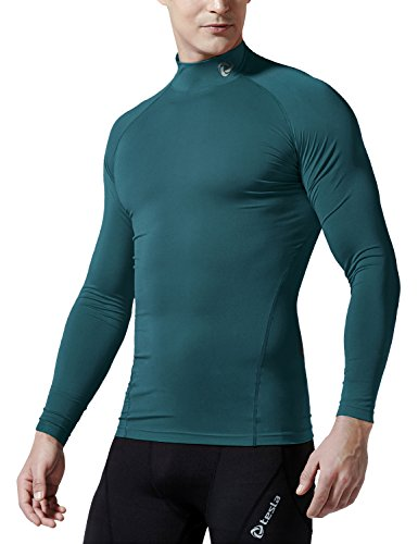 f7fe76a1bf Galleon - TM-T11-FRGZ X-Small J-S Tesla Men s Cool Dry Compression  Baselayer Mock Long Sleeve T Shirts T11