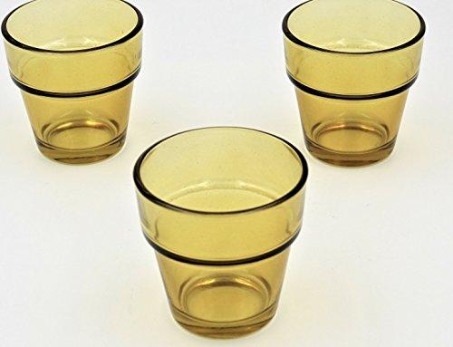 Quality Glass Flower Pot Votive Holders (Set of 12) Perfect for weddings, restaurants, spas, events (Amber)