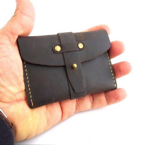 Genuine Vintage Leather Handmade Mini Wallet Money Id Cre...