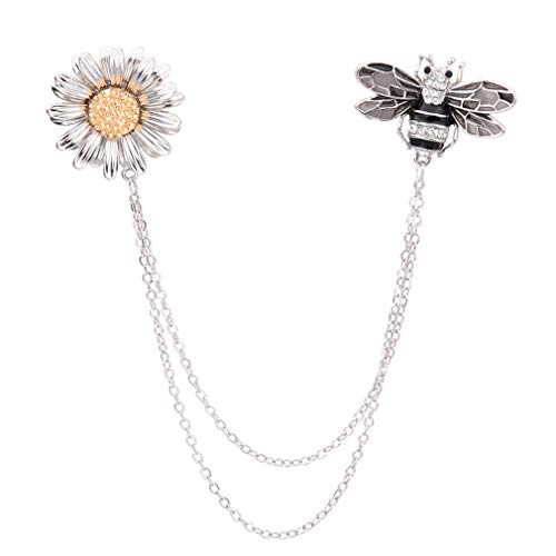 - Women Retro Silver Tone Women Daisy Flower Honeybee Insect Brooch Pin With Chain Sweater Clips Collar Pin