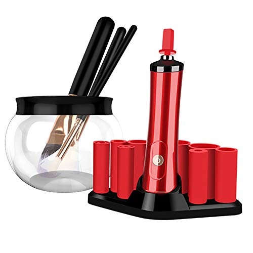soAR9opeoF Cleaning Tools,Multifunctional Electric Washing PET Makeup Cleaner Dryer Brush Set Red ()