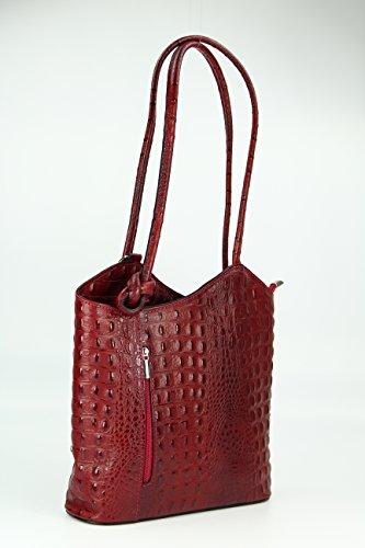 Belli - Bolso mochila  para mujer Negro Maronenbraun 28x28x8 cm (B x H x T) Bordeaux kroko