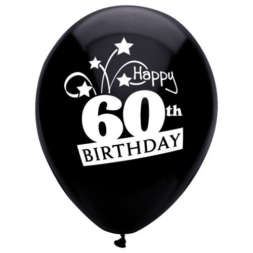 (PartyMate 24664 Printed Latex Balloons, 8-Count, Pitch Black )