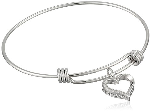 Diamond Heart Fashion Bangle Bracelet (Sterling Silver Diamond Accent Adjustable