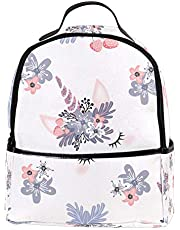 Laptop Backpack Unicon-With-Flowers Casual Shoulder Daypack for Student School Bag Handbag - Lightweight