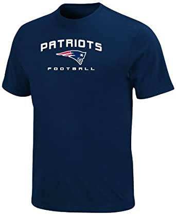 NFL Mens New England Patriots Line Of Scrimmage V Short Sleeve Crew Neck Tee (Athletic Navy, Small)