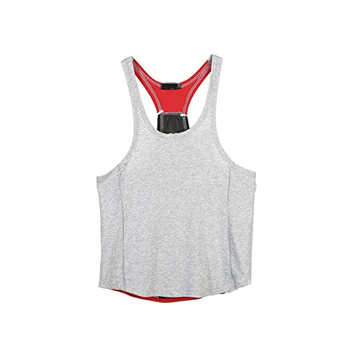 Del Red Fitness Da amp; Sportiva Athletic Uomo Per Amanti Canotta Gli Gray qPxU8w0E