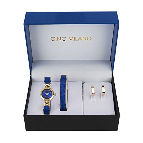 Ladies Blue Bangle Watch & Matching Bangle Bracelet with Matching Hoop Earrings Gift Set-Blue