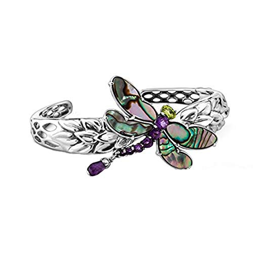 Peridot Cuff - Carolyn Pollack Genuine .925 Sterling Silver Abalone Amethyst Peridot Dragonfly Cuff Bracelet - Natural Beauty Collection