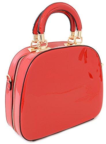 Red Patent Round Handle Tote Satchel Bowling Bowler Bag Purse (Pink Ladies Bowling Bag)
