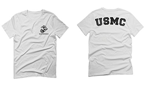 (Black Seal United States of America USA American Marines Corps USMC for Men T Shirt (White, Small))