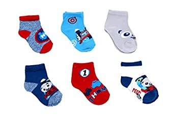 Thomas the Train & Friends Boys 6 pack Socks (Baby/Toddler) (Blue/Red, 6-12 Months)