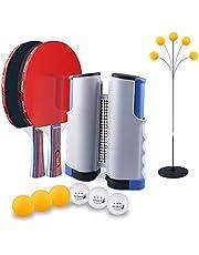 SUPERSUN Set de Ping Pong, 2 Raquetas de Tenis de Mesa   6 Pelotas de Ping Pong   1 Entrenadorde de Tenis de Mesa   1 Retráctil Mesa Ping Pong Profesional Portátil para Juegos de Interior y Exterior