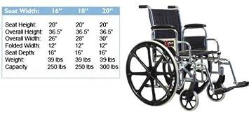Amazon.com: Graham Campo Vista IC silla de ruedas, 16 x 16 ...