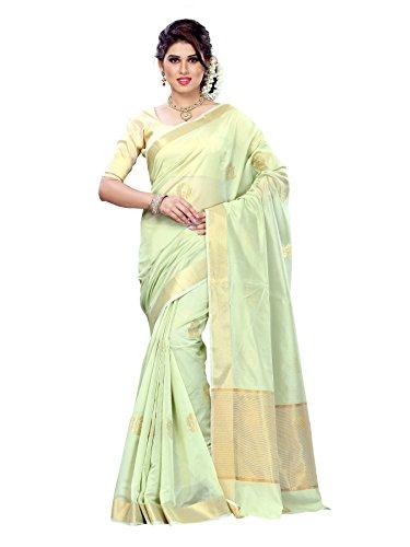 Mimosa Women Kanchipuram Cotton Art Saree with Tissue Blouse.