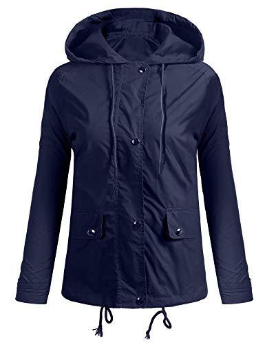 Nuove Giacca Cappuccio Donne Delle Cappotto Casuale 2 Del Lunga Di 352 Bleu Coorun Pioggia Manicotto Con PzdwSSq