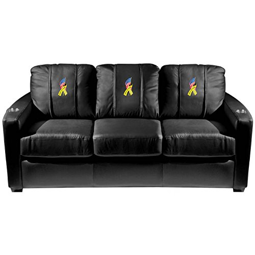 XZipit Armed Forces Silver Sofa with Support Our Troops Logo Panel, Black
