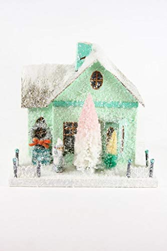 Cody Foster Mint Green Bungalow with Santa Christmas Village Mantel House