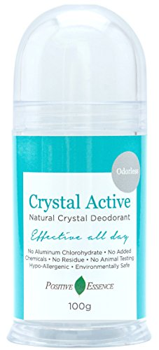 Thai Crystal Deodorant - Crystal Active - 100% NATURAL, LONG LASTING, Single Ingredient, No Aluminum Chlorohydrate or Chemicals - Unscented/Odorless, Pushup Stick, Thai Crystal Deodorant Stone for Men ()