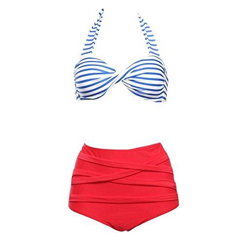 Ingsist femenino alto talle traje de baño vendimia polca Dower bikini conjunto baños siguiente Rojo