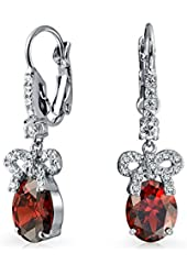 Bling Jewelry Bow Ribbon Simulated Emerald CZ Drop Earrings Rhodium Plated