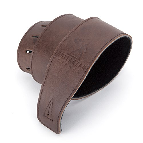 #1 Best LEATHER GUITAR STRAP, for Electric, Acoustic, Bass, and Classical Guitar, Padded for Extra Comfort, Dark Brown, Includes 2 FREE Pick Geek Steel Picks, a Perfect Gift by Guitarzan Straps