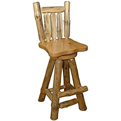 Rustic Pine Log Swivel Pub Chairs SET OF 2 Amish Made In USA Clear Varnish Counter Height 24