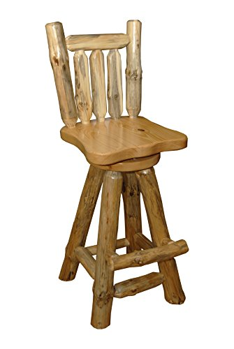 Rustic Pine Log Swivel Pub Chairs SET OF 2 - Amish Made in USA (Clear Varnish, Counter Height (24