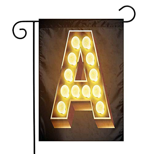 - Mannwarehouse Letter A Garden Flag The First Letter of The Alphabet Symbol Old Cinema Inspired Design Image Premium Material W12 x L18 Caramel Yellow Black
