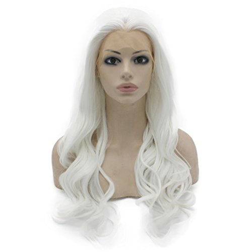 Mxangel Long Wavy Half Hand Tied White Synthetic Lace Front Wig Cosplay -