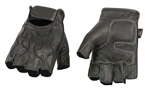 Embroidered Jack - Ted and Jack - Soaring Flame Embroidered Motorcycle Fingerless Leather Glove with Black Flames in XXXL
