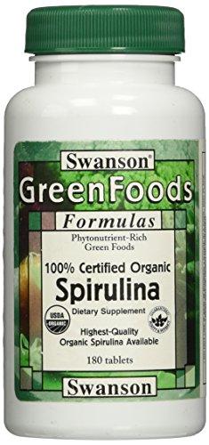 Swanson Certified Organic Spirulina 500 mg 180 Tabs
