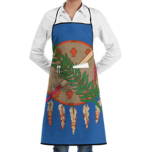 Oklahoma State Flag,Adjustable Unisex Bib Aprons with 2 Pockets Lock Edge Garden Apron Chef Apron Cooking Baking,Kitchen Pinafore Aprons for Men Women Unisex Chef's Aprons Deluxe