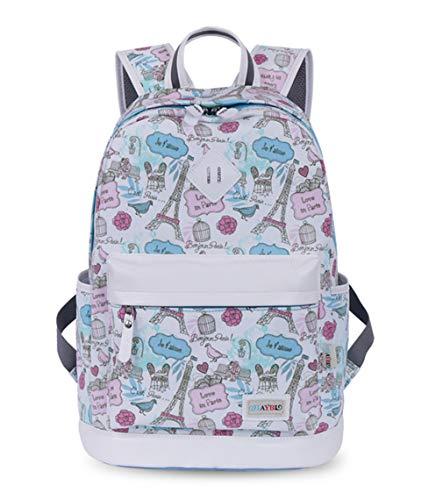 NEW Fashion Teenage Women Canvas Backpack Printing Casual School Girl Bag blue