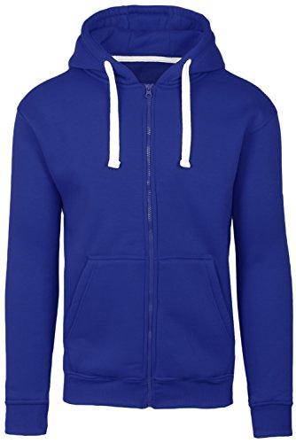 Plus Size Hipster Hip Hop Basic Zip-Up Royal Hoodie Jacket 3XL