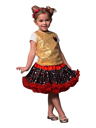 Disney Collection by Tutu Couture Minnie Mouse 2PC Set Sequins Tee w/Reversable Petti Skirt (2T) Black (Couture Kids Disney)