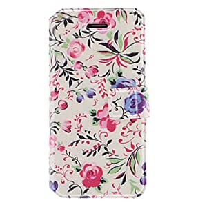 Abstract Painted Flowers Pattern PU Full Body Case with Card Slot and Stand for iPhone 5/5S