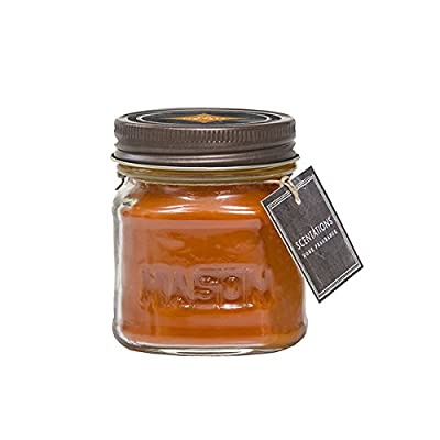 """Scentations Scented Candle - Pumpkin Seed in Vintage Style Mason Jar, 8 oz - A DELIGHTFUL MIXTURE OF FRAGRANCES: The cozy autumn ambiance of pumpkin, ginger, cinnamon and cardamom makes this at timeless favorite. LONG LASTING FOR MORE ENJOYMENT: This small-sized soy blend mason jar candle has a 28 hour burn time so you can use this whenever you want. YOU DON'T HAVE TO TAKE OUR WORD FOR IT: Our loyal customers can't get enough of our soy-based candles: """"Enthralled by this scent!"""" """"The smell is beautiful and lasts for days!"""" Makes a unique gift for wine lovers! - living-room-decor, living-room, candles - 41ZGKK9FwYL. SS400  -"""