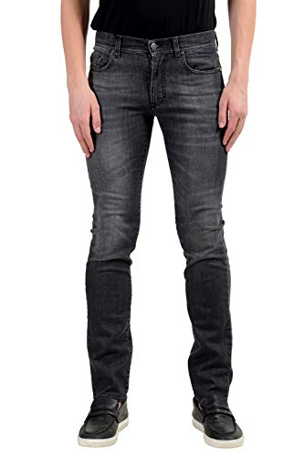 (Versace Collection Slim Men's Gray Stretch Skinny Jeans US 30 IT 46)