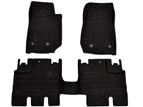 Mopar 82213860 Jeep Wrangler Unlimited 4-Door Black All-Weather 3-Piece Floor Mat Set (Jeep Wrangler 4 Piece)