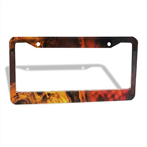 Love beautiful Watercolor Sugar Skull Halloween License Plate Frames Slim Size Metal Aluminum Custom License Plate Cover Large Size Frame Shock Pad Bonus Car Non-Slip Mat 2 Holes/2 Pack 12