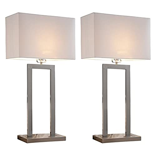 Modern table lamps amazon kings brand 30h brush nickel with white fabric shade table lamps set of 2 mozeypictures Gallery