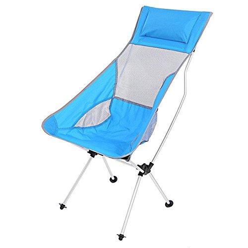 4 Farben Leichte Aluminium-Legierung Mond-Fischen Stuhl mit Tasche für Outdoor-Picknick Blau