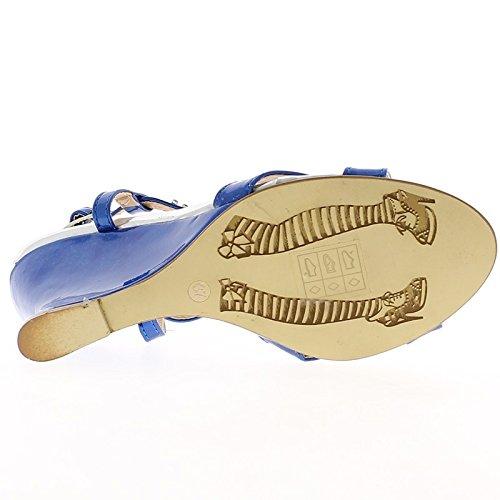Bleu 9,5 Cm Avec Des Sandales À Talons En Strass