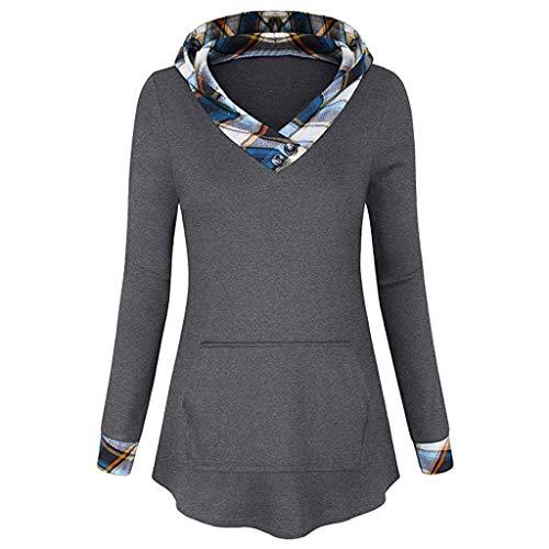 URIBAKE Women Hooded Pullover Print V-Neck Long Sleeve Irregular Pocket Trendy Hoodies Tunic Sweatshirt Tops -