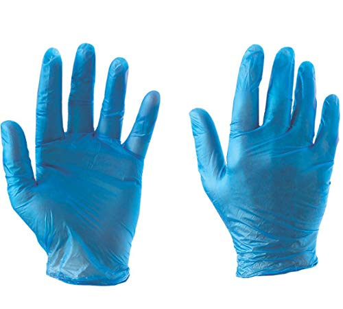 Vinyl Disposable Gloves Size XL Box of 100 – Non Toxic Blue Rubber Latex Powder Free Clean and Hygienic. Food Grade…